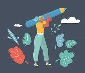 Vector Cartoon Illustration Of Woman Stand With Big Pencil Isolated On Dark Background. Writer, Blog poster