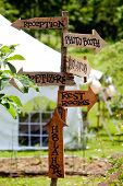 A very cool and unique wedding sign showing guests directions to various areas and a tent in the bac