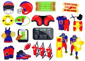 American Football Sport Set. Flat Cartoons Vector Illustration Icons On White Background. American F poster