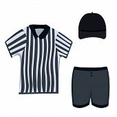 Referee Clothing Set: Black Cap, Short, Striped Polo. Lacrosse Referee Clothes Set.modern Flat Carto poster