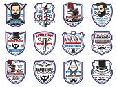Barbershop Professional Men Hairdresser Salon Signs. Vector Mustaches Trim, Shave And Hair Cut, Barb poster