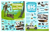 Hunting Infographic, African Safari Hunt Wild Animals And Hunter Ammo. Vector Hunting Club Training  poster