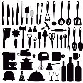 Set Silhouette Kitchen Utensils For Cooking. Kitchen, Cooking, Kitchen Technology, Taste, Delicious. poster