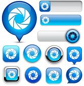 Aperture blue design elements for website or app. Vector eps10.
