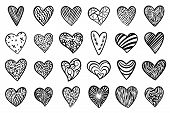 Heart Hand Drawn Style. Doodle Love Icons Set. Monochrome Scribble Sketch Hearts Sign With Arnament  poster