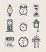 retro and modern clock set icon vector illustration