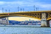 Budapest, Hungary View Of Buda Castle Or Royal Palace In The Arch Of The Bridge At Danube River poster