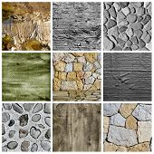 a collage of nine pictures of different textured surfaces