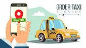 Order Taxi App . Hand Holding Smartphone. Call A Taxi Mobile Concept. Application For Ordering Taxi. poster