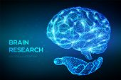 Brain. Low Poly Abstract Digital Human Brain In Hand. Neural Network. Iq Testing, Artificial Intelli poster