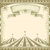 Square brown vintage circus.  A retro square circus background for an invitation