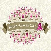 pic of world health organization  - Breast cancer care globe awareness with women teamwork on icon set background - JPG
