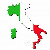 foto of italian flag  - map of Italy and Italian flag illustration - JPG