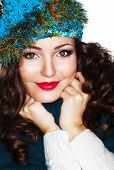 picture of knitwear  - Happy Woman in Blue Knitted Cap and Knitwear  - JPG