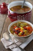Minestrone with potato, red beans, carrot, broccoli, and celery