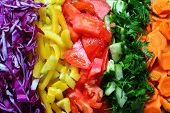 stock photo of slit  - frash mellow juicy slits of different vegetables - JPG