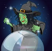 picture of witch ball  - Illustration of a witch and her crystal ball - JPG