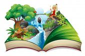 Illustration of a storybook with an image of nature and a fairy on a white background