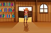 Illustration of a cowgirl holding a rope beside the three wooden shelves with books