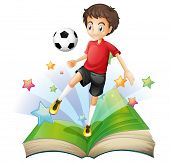 Illustration of a book with a boy playing football on a white background