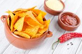 pic of table manners  - Tortilla chips with two different dips on a white table - JPG
