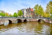 Amsterdam. Bridge And Water Canal On Sunset. Holland Or Netherlands.