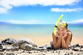 stock photo of sea-turtles  - Beach travel woman on Hawaii with sea sea turtle - JPG