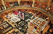 PARIS, FRANCE-MAY 18: Interior of the emblematic building of the Galeries Lafayette on May 18, 2013.