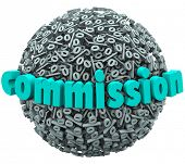 The word Commission on a 3d ball or sphere of percentage signs or symbols to illustrate earning a sp