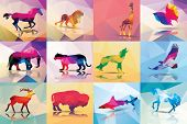 stock photo of polygon  - Collection of geometric polygon animals - JPG