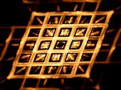 foto of nanotechnology  - Gold grid nanotechnology computer generated fractal background - JPG
