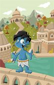 Cartoon blue indian boy in front of a old city. Holi festival.