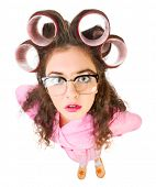 stock photo of mother law  - Funny housewife with curlers isolated - JPG