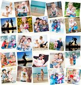 image of polaroid  - collage of family polaroid photos indoors and outdoors - JPG