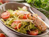 image of norway lobster  - green tagliatelle with norway lobster - JPG