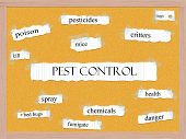 picture of pesticide  - Pest Control Corkboard Word Concept with great terms such as pesticides critters bugs and more - JPG