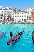 picture of gondolier  - a gondolier and tourist in Grand Canal - JPG