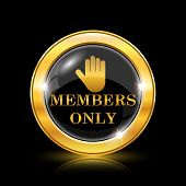 picture of fellowship  - Golden shiny icon on black background  - JPG