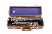 Old Used Clarinet In Ancient Case Isolated