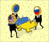 Europe, America and Russia want to eat a Ukraine.