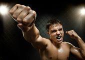 image of valiant  - horizontal photo muscular young guy street - JPG