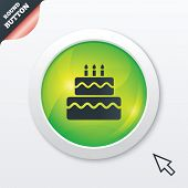 Birthday cake sign icon. Burning candles symbol