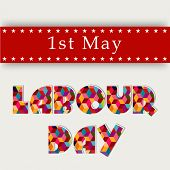 stock photo of labourers  - Colorful shiny text Labour Day on red and grey background - JPG