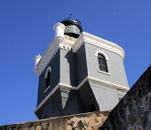 foto of el morro castle  - Lighthouse at the Castillo San Felipe del Morro in San Juan - JPG