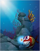 picture of piranha  - Illustration of a coral reef under the sea with a piranha - JPG