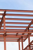 stock photo of girder  - Metal girders of an unfinished building structure - JPG