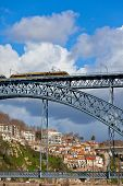 Metro Train On The Bridge Of Dom Luiz In Porto