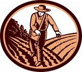foto of oval  - Illustration of organic farmer with satchel bag sowng seeds in farm field set inside oval shape done in retro woodcut style - JPG