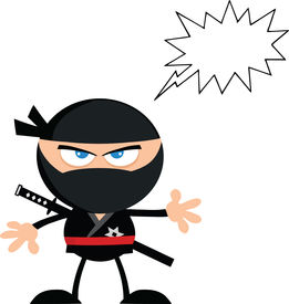 pic of chibi  - Angry Ninja Warrior Cartoon Character With Speech Bubble Flat Design  Illustration Isolated on white - JPG