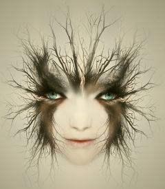 pic of surrealism  - Artistic surreal portrait of a beautiful face of a young woman transformed in mysterious creature - JPG